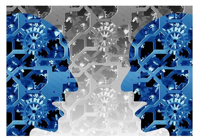 Dwie głowy przedstawione jako mechanizm