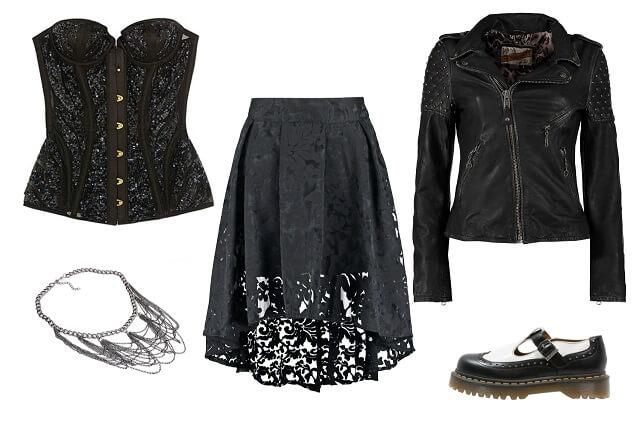 Stylizacja w stylu gotyckim z gorsetem, spódnicą koronkową, kolią i martensami