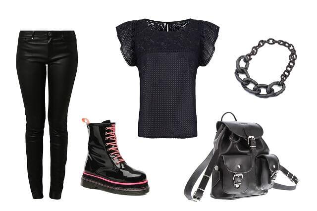 styl gotycki: spodnie lateksowe, łańcuch, martensy