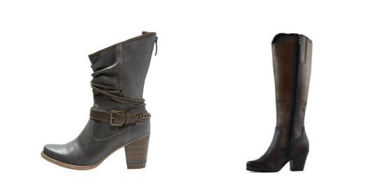 Dwa modne buty kozaki kowbojki